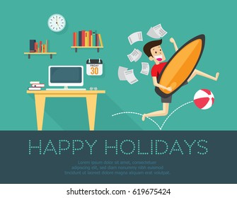 happy holiday, Businessman going for vacation and holiday concept