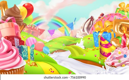 Happy holiday. Cupcake, gift box. Sweet landscape, 3d vector background