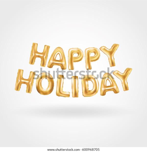Happy Holiday Gold Balloons