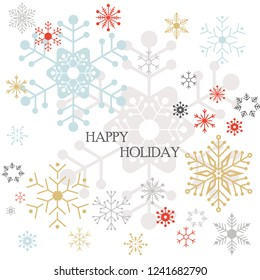Happy holiday with modern graphic snowflake cartoon vector illustration