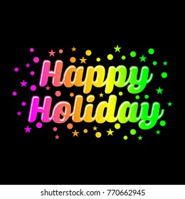 happy holiday text vector template