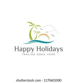 happy holiday travel vacation logo icon vector template
