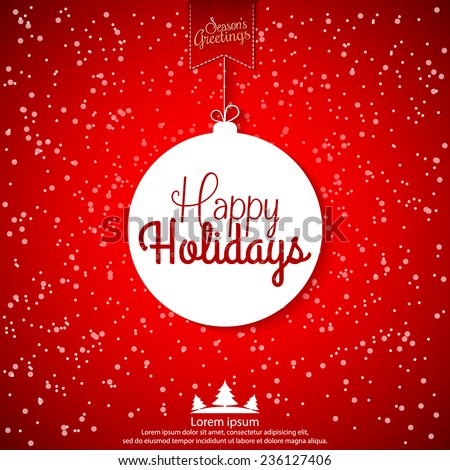 Happy Holidays Abstract Christmas Ball Vector Stock Vector Royalty
