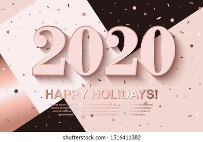 Happy Holidays background with 2020 pinkish Numbers and flying geometric confetti on trendy patchwork backdrop. Template design for posters, flyers, brochures, vouchers. All isolated and layered