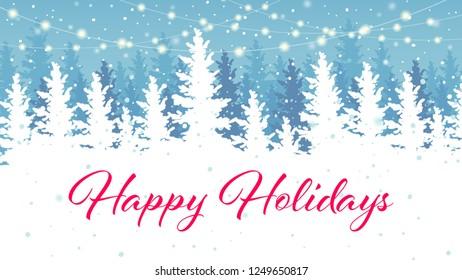 Happy Holidays banner design. Vector background, winter outdoor scene.
