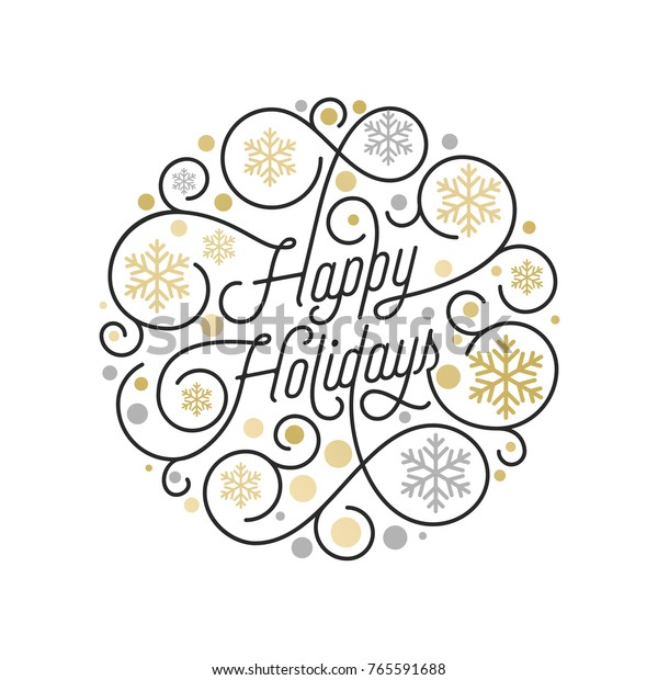 Happy Holidays calligraphy lettering and golden snowflake pattern on white background for Xmas greeting card design. Vector golden Christmas flourish swash for New Year holiday text decoration