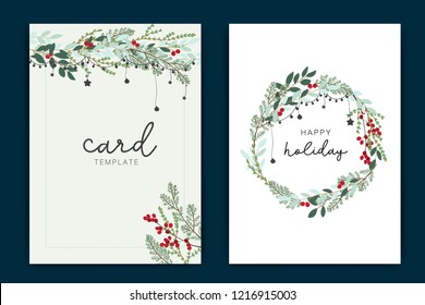 Happy Holidays Card template with green leaf and red berry