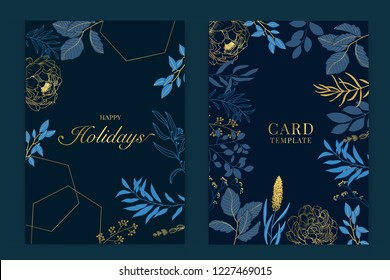 Happy holidays card template with Navy blue and Golden leaf