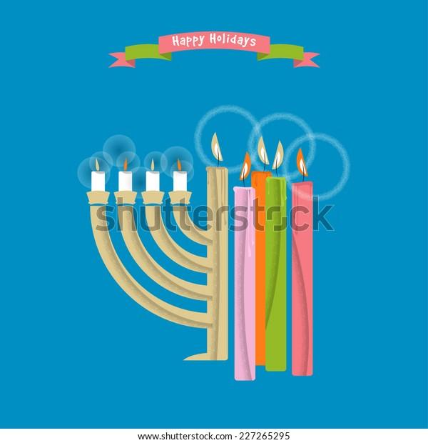 Christmas Hannakah.Happy Holidays Cards Christmas Hanukkah Candles Stock Vector