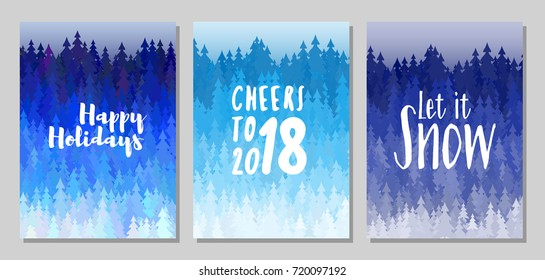 happy holidays cheers to 2018 let it snow vector cards winter forest panorama