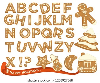 Happy holidays, Christmas abc letters font, graphic design