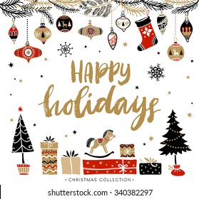 Happy Holidays. Christmas greeting card with calligraphy. Handwritten modern brush lettering. Hand drawn design elements.