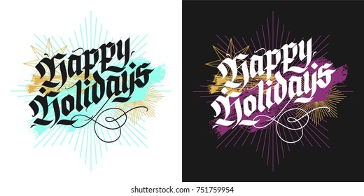 Happy holidays, Christmas modern blackletter greeting cards