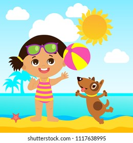 Happy Holidays. Cute Summer Girl Cartoon Vector. Summer Time Vector Illustration. Girl Playing Ball With A Dog. Kids Sea Vacation Theme. Baby On The Beach Vector.