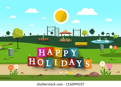 Happy Holidays Design with Empty Playground on Park on Background