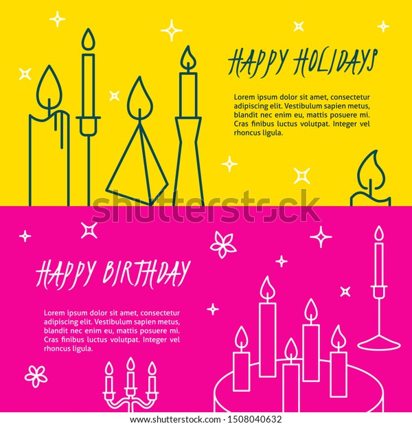 Happy holidays flyer templates in line style with place for text. Bright banners with candles and cake. Happy birthday concept. Vector illustration.