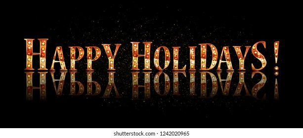 Happy holidays - gold glittering lettering design. Vector illustration