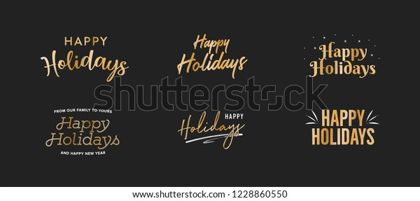 Happy Holidays Gold Vector Holiday Text Isolated Illustration