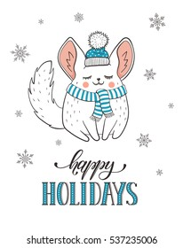Happy holidays greeting card with cute cartoon chinchilla in hat and scarf. New Year vector postcard. Illustration of cartoon baby animal with snowflakes isolated on white background