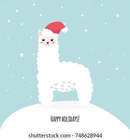 Happy holidays greeting card with cute white llama and santa hat. Vector hand drawn illustration.