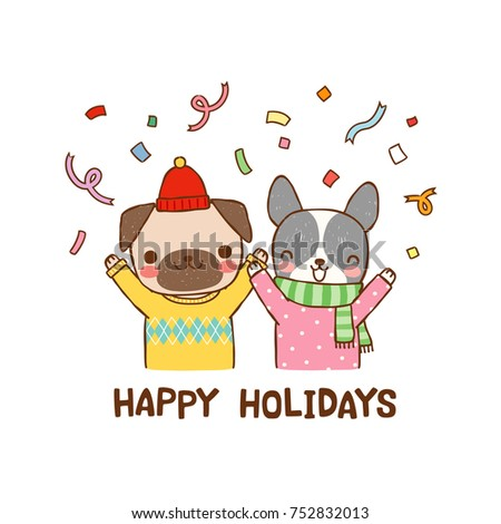 Happy Holidays Greeting Card Cute Cartoon Stock Vektorgrafik