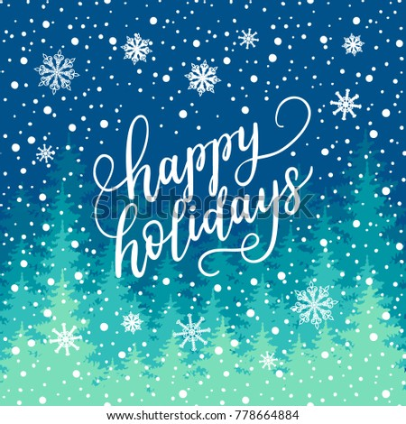 Happy holidays greeting card new year stock vector royalty free happy holidays greeting card for new year 2018 vector winter holiday background with hand lettering m4hsunfo
