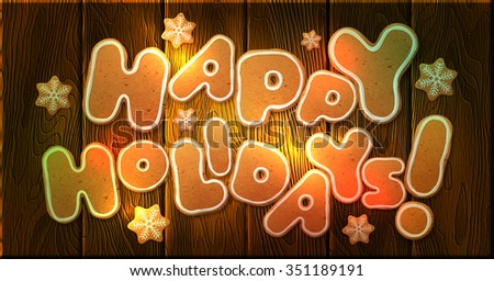 Happy Holidays Greeting Card Template Vector Stock Vector Royalty