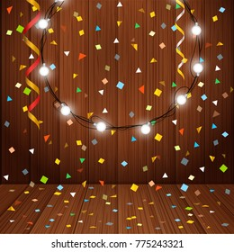 Happy Holidays greeting card. Vector greeting card with garland