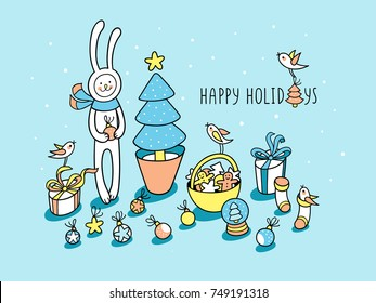 Happy Holidays hand drawn gift card with little bunny. Cute baby-rabbit holds ball decoration near xmas tree among the winter holidays elements: baubles, present boxes, cookies basket and birdies.