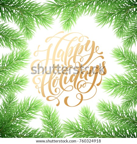 Happy Holidays Hand Drawn Golden Quote Stock Vector (Royalty Free ...