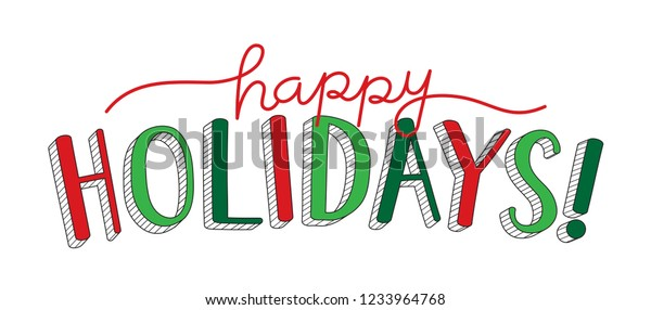 HAPPY HOLIDAYS hand lettering banner