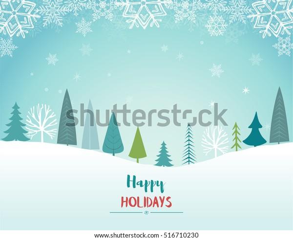 Happy Holidays Landscape. Vector