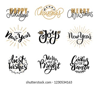Happy Holidays lettering hand drawn doodle text, Merry Christmas and New Year typography font for greeting cards and creative postcards design, vector