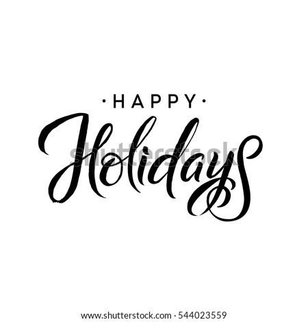 Happy Holidays Merry Christmas Calligraphy Template Image