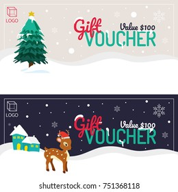Happy Holidays or Merry Christmas Gift Vouchers, Winter Background, with Xmas Tree, Snowflakes and Reindeer.
