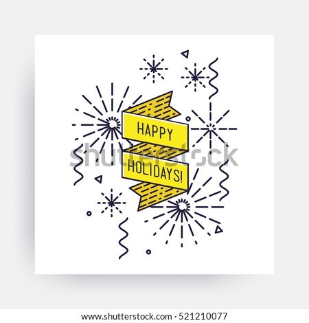 Happy Holidays Merry Christmas New Year Stock Vector (Royalty Free ...