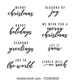 Happy Holidays, Merry Christmas, Seasons Greetings, Joy To The World Vector Text Icon Illustration Background for flyers, post cards, greeting cards, scrapbooks, web