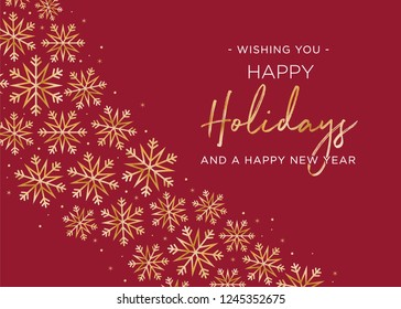 Happy Holidays and Happy New Year Holiday Greeting Card Vector Text Snowflake Illustration Background