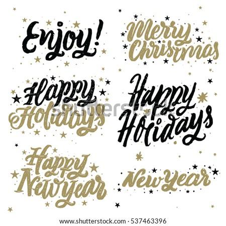 Happy Holidays Happy New Year Merry Stock Vector (Royalty Free ...