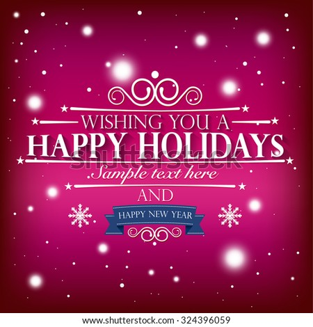 happy holidays and a happy new year wishes card on snowy red pink background