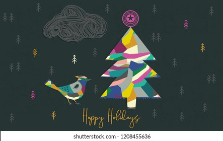 Happy Holidays Print Design. Christmas tree and bird. Vector illustration