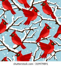 Happy holidays seamless pattern with birds red cardinal.