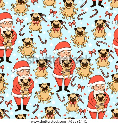 9acafc5201a Happy Holidays Seamless Pattern Cute Santa Stock Vector (Royalty ...