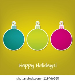 Happy Holidays sticker bauble card in vector format.