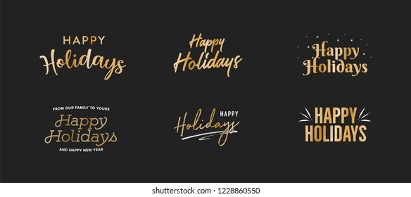 Happy Holidays Text, Happy Holidays Background, Christmas Text, Merry Christmas Text, Holiday Vector Text, Gold Vector Holiday Isolated Illustration
