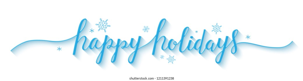 HAPPY HOLIDAYS vector brush calligraphy banner with snowflakes