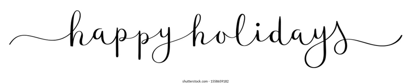 HAPPY HOLIDAYS vector brush calligraphy banner with swashes