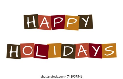 happy holidays, vector letters in squares with traditional colors