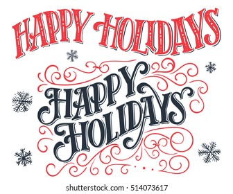 Happy holidays. Vintage hand-lettering set. Hand-drawn typography collection isolated on white background