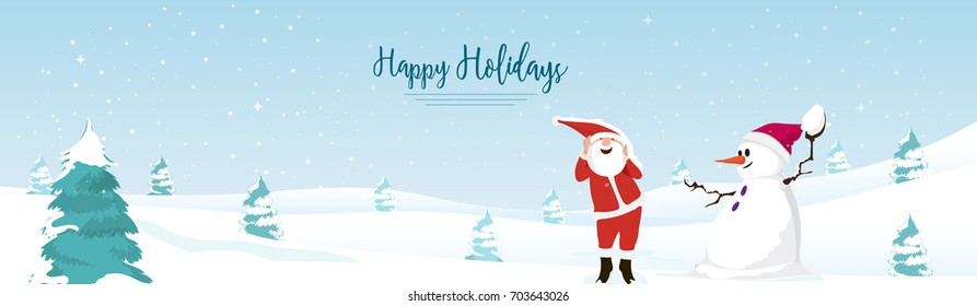 Happy Holidays Web Banner, Winter Background, Santa with Snowman.